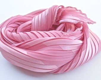 Vintage Hot Pink Pleated Scarf Plisse Fabric Head Wrap Bandanna Neckerchief Diagonal Line Translucent Shiny Opaque Rose Pink Shocking Kawaii