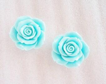 2pcs - Large Light Blue Romantic Vintage Rose Decoden Cabochon (46mm) FXL10008