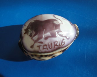 Sea Shell Carved Cowrie Shell Zodiac Sign Taurus.  Philippines.