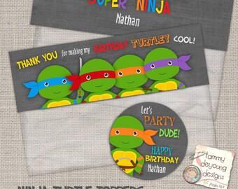 Ninja Turtle Treat Bag Toppers Birthday Labels *Digital Ninja Turtle Party Favors Printable*  2.5 inch circle labels