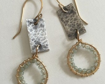 Natural aventurine beads with gold-filled wire and silver - dangle wire wrapped earrings