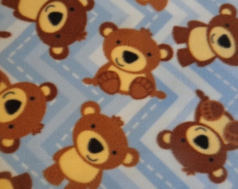 Plush Bears on Chevron Fleece Stroller/ Carseat/ Receiving/ Security Blanket