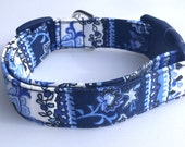 Blue Delft Dog Collar Size XS, S, M or L
