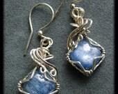 Indigo Kyanite Silver Wire Wrapped Drop Earrings