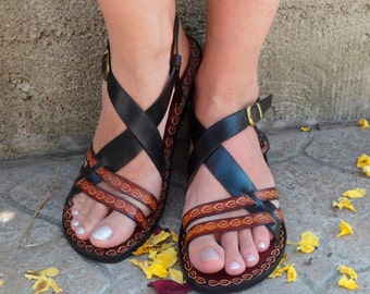 Hippie Boho Sandals, Black And Brown Custom Leather Sandals, Unisex Custom Sandals - INSPIRATION