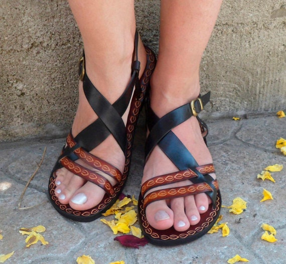 Cute Black And Brown Custom Handmade Leather Woman Sandals - Inspiration