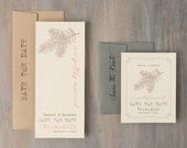 """Rustic Save the Date, Pine Tree Save the Date Cards, Woodsy Wedding, Taupe, Gray, Blush Save the Date - """"Moss Tree"""" Save the Dates"""