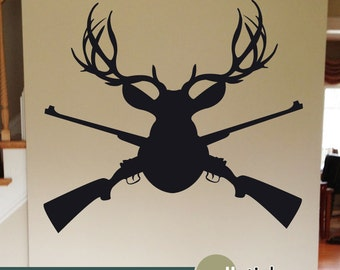 Buck Deer Hunting Wall Decal - Deer Mount with Guns - Outdoorsmen Wall Sticker for boys room or man cave - WD0362
