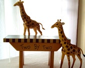 Bench painted Noah's Ark with two sweet giraffes 1992