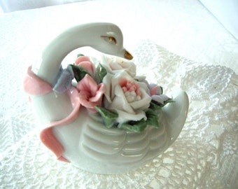 Vintage Swan ceramic glazed with ribbon and flowers 1970s