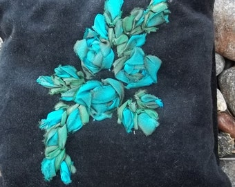Teal Silk Ribbon Embroidered Roses on a Black Velveteen pillow