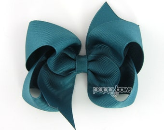 Jade Girls Hair Bows, teal blue hair bow, 4 inch hair bows, big hair bows, boutique bows, large hair bows, girl hair bows, toddler COPY