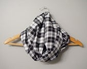 Sale - Black and White Plaid Infinity Scarf, Fashion Scarf