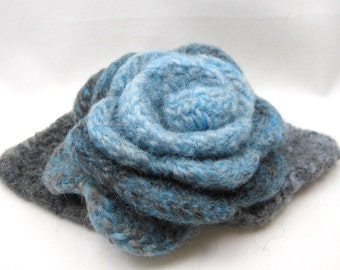 Felted Wool Rose Flower brooch in shades of Turquoise and Gray