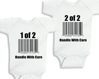 handle with care Twins Set of 2 personalized baby bodysuit