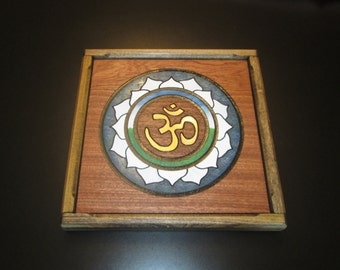 Aum Ohm Om, Mystical Sound of the Universe - Wood Engraving Framed 14 inches