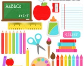 School Supplies Clipart Set - stationery, back to school, pencils, crayons, education - personal use, small commercial use, instant download
