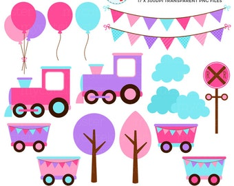 Girl's Train Clipart Set - clip art set of trains, carriages, track, party, bunting - personal use, small commercial use, instant download