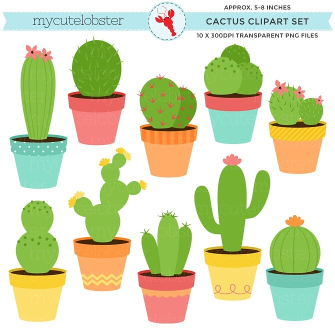 Clip Art Cactus Clip Art cactus clip art etsy clipart set of cacti cactuses plants desert pots personal use small commercial instant download