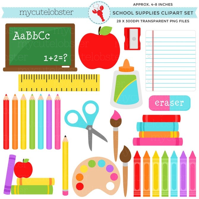 School Supplies Clipart Set stationery back to school