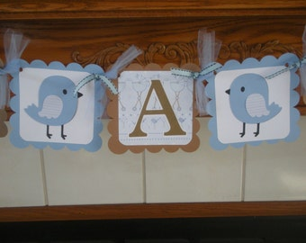 It's A Boy Baby Banner, Buggy and Birdies Baby Boy Banner, Gender Reveal Banner, Baby Birdies Banner, Matching Tissue Pom Poms Are Available