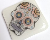 Sugar Skull Glass Mini TIle