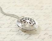 Antique Silver Locket Necklace - Bridesmaid Locket Necklace - Flowergirl Locket - Locket Necklace - Photo Locket Necklace - Bridesmaid gift