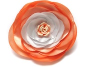Romantic peach flower- fabric brooch with fimo flower