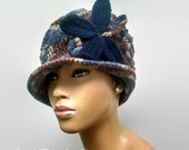 PATTERN ONLY Cabled Cloche/Flapper hat hand knit and basic crochet/ Free detachable leaves pattern included