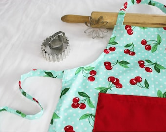 Retro Cherries on Aqua Child Apron with red pocket