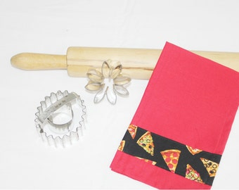 Pizza on Black Child Size Toy Dish Towel for pretend play