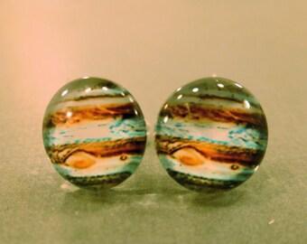 Jupiter Studs: Jupiter Planet Earrings, Space Studs, Space Jewelry, Space Plugs, Fake Plugs, Planet