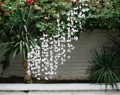 Flock of White Origami Cranes Paper Birds Garlands Strings Backdrop Shop Window Display