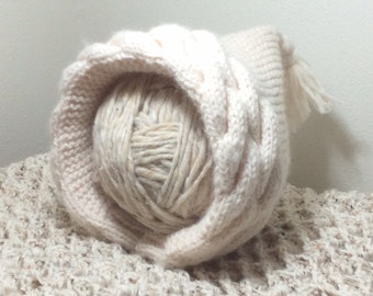 Hand Knit pixie baby hat, 0-6 months, pixie baby bonnet, winter white baby hat, vintage baby girl hat, heirloom baby hat, READY TO SHIP