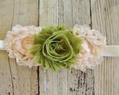 Blush Peach Moss Green Cream Baby Flower Headband