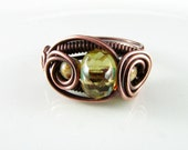 Wire Wrapped Ring Yellow Czech Picasso Glass Copper Ring Size 7 Dragons Eye Ring Wire Wrapped Jewelry Copper Jewelry Yellow Ring