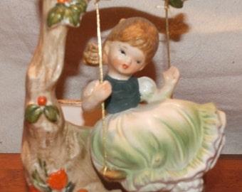 Vintage Napco Petticoat Girl on Swing Planter