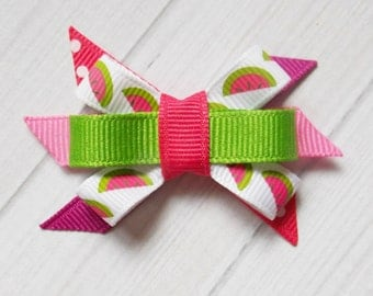 Watermelon Pink and Green Itty Bitty Bow - Watermelon Bow, Watermelon Ribbon, Itty Bitty Bow, Baby Girl Bow