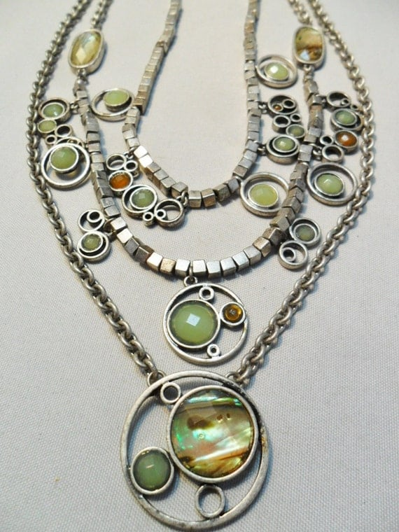 Vintage Signed Xc Necklace Unique Abalone Shell Lucite Silver