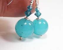 Aquamarine Murano Glass Bead Earrings, 1 1/4 inch (3cm) Drops, Translucent Italian Round Glass Beads with Swarovski Crystal Accents