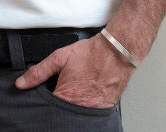 Mens cuff, Sterling silver cuff , Matte cuff bracelet Mens jewelry