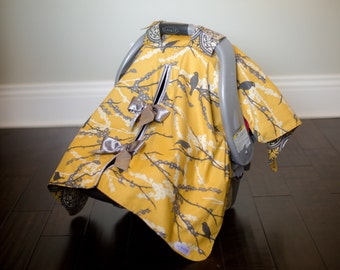 "Baby Car Seat Canopy Cover with slit AND Nursing Veil / Nursing Cover - ""Antique Tweet"""