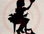 Clip Art Design Transfer Digital File Vintage Download DIY Scrapbook Shabby Chic Pillow Burlap Love Valentine Girl Silhouette  Art No. 0740