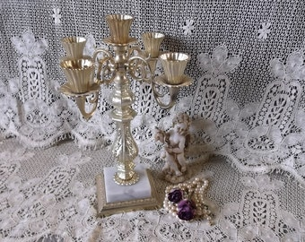Vintage, metal and marble, Baroque Candleabra, five holder, goldtone metal, made in Italy