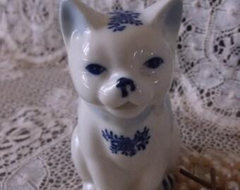 Vintage Cat creamer, blue and white, kitty creamer