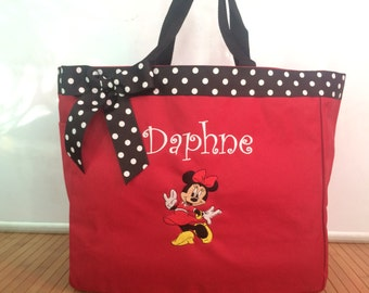 Personalized Girl Minnie Mouse Tote Bag Baby Diaper Bag