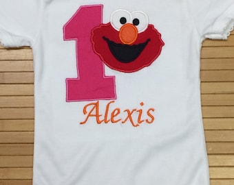 Personalized Embroidered Elmo Birthday Shirt Blouse Custom Made