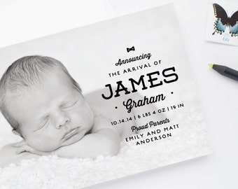 Modern Typography Birth Announcements - Hipster Masculine Baby Boy Birth Announcements