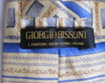 Giorgio Bissoni - Mens Yellow Blue Designer Silk Neck Tie