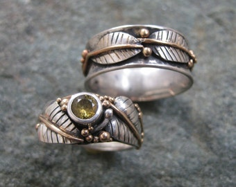 His and Hers Wedding Rings- Custom Made Wedding Rings-- Sterling Silver, Yellow Gold and Yellow Sapphire